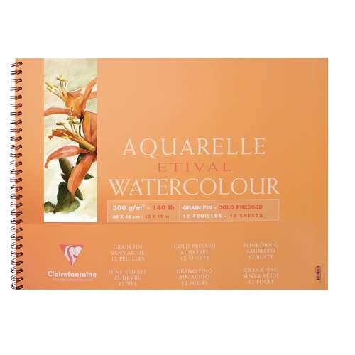 CLAIREFONTAINE ETIVAL Aquarell-Spiralblock, Feinkorn
