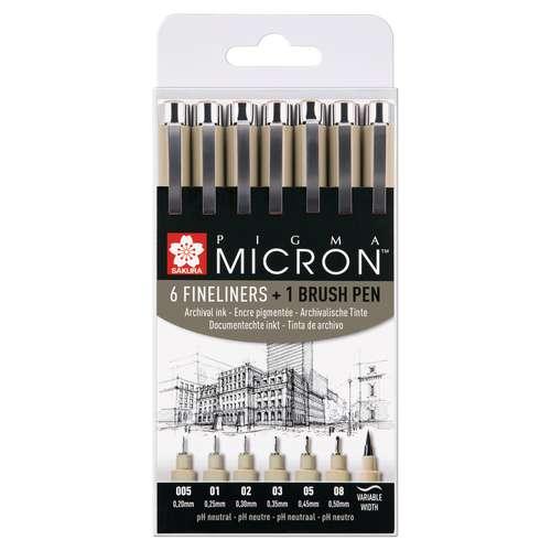 SAKURA PIGMA MICRON™ 6 Fineliner + Brush pen