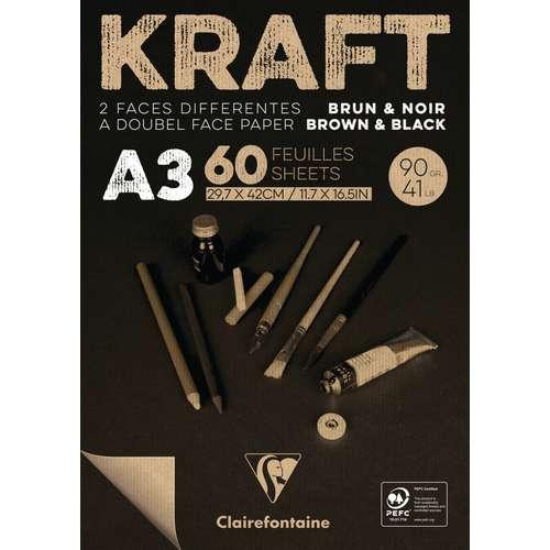 CLAIREFONTAINE KRAFT Papierblock, braun / schwarz